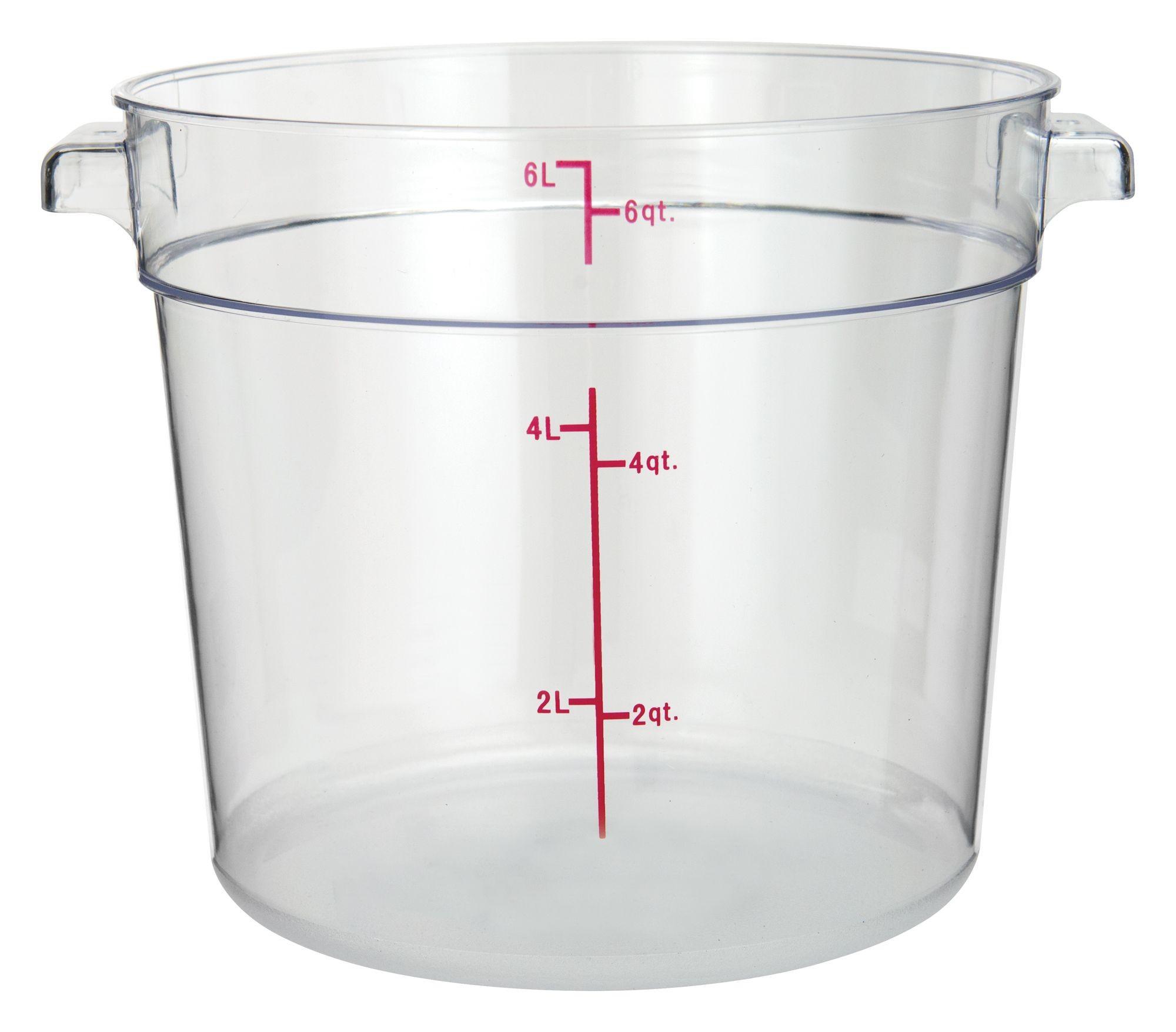 Winco PCRC-6 Round Polycarbonate Storage Container, 6 Qt.