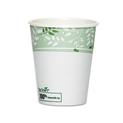 PLA Hot Cups, Paper w/PLA Lining, Viridian, 10 oz Squat, 50/Pack