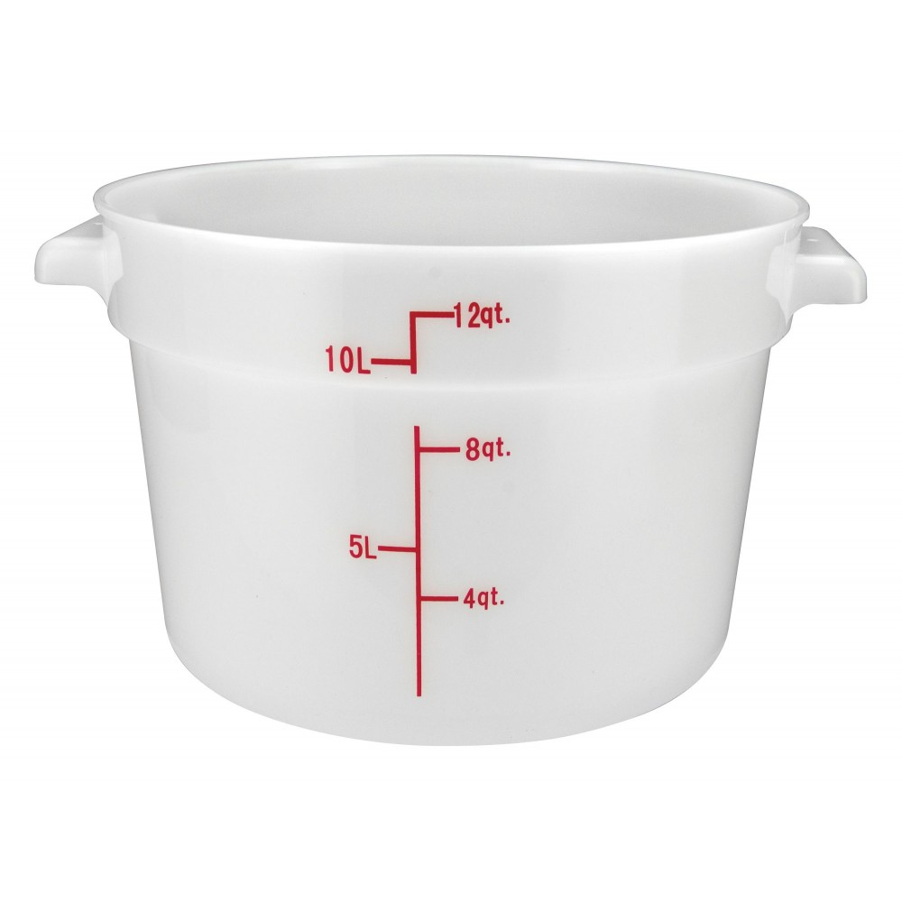 PP Round Storage Container, 12Qt, White