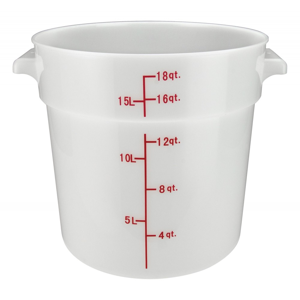 Winco rc-18w White Round Storage Container, 18 Qt.
