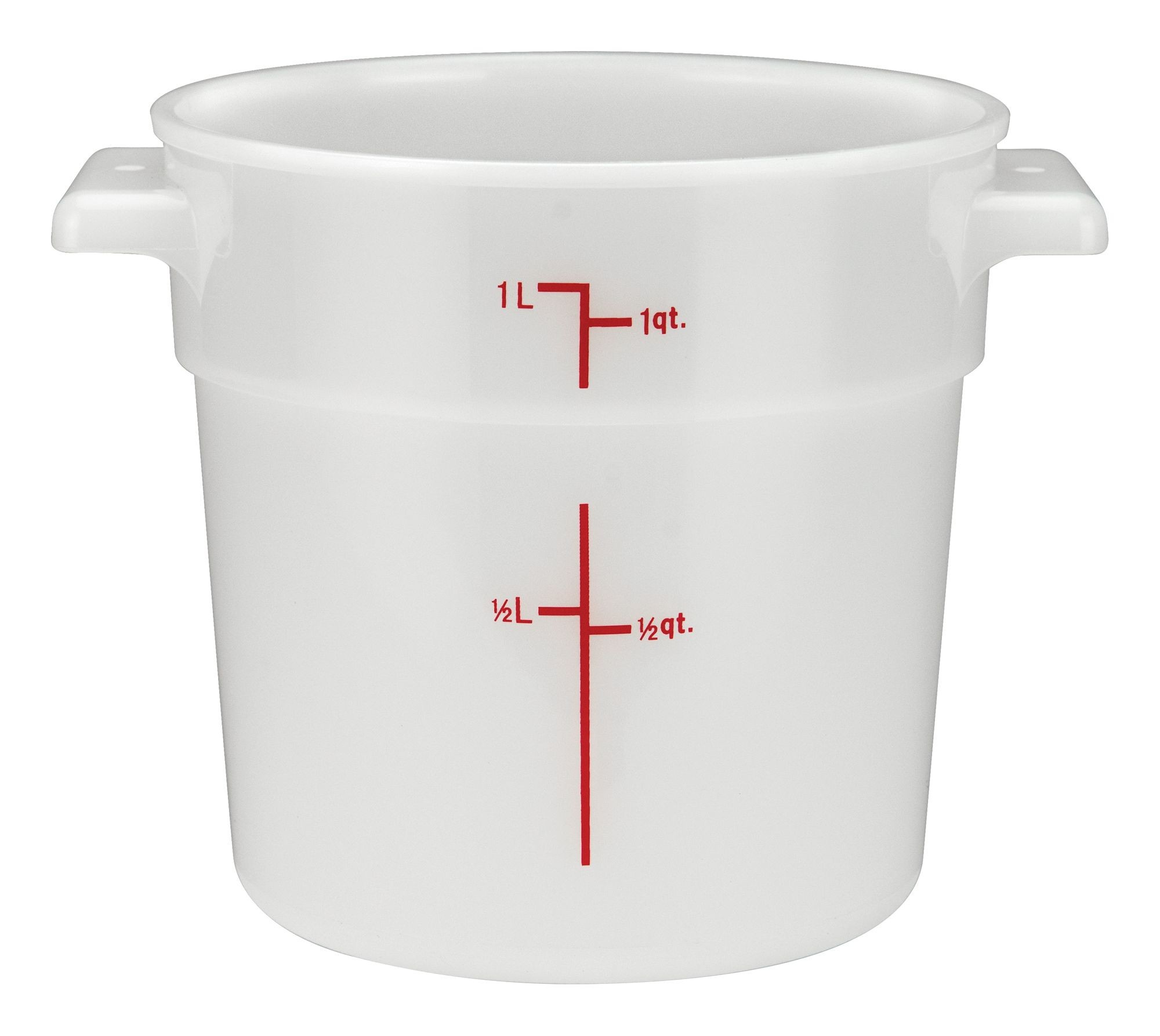 Winco PPRC-1W White Round Storage Container, 1 Qt.