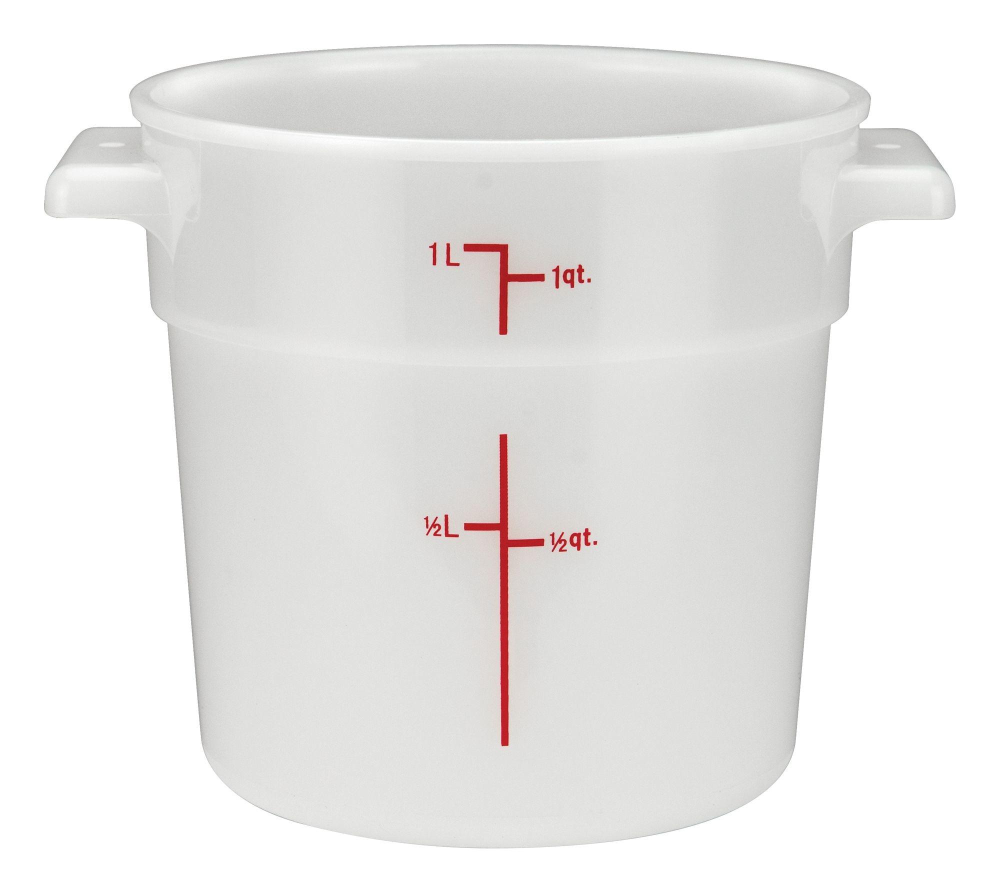 Winco rc-1w White Round Storage Container, 1 Qt.