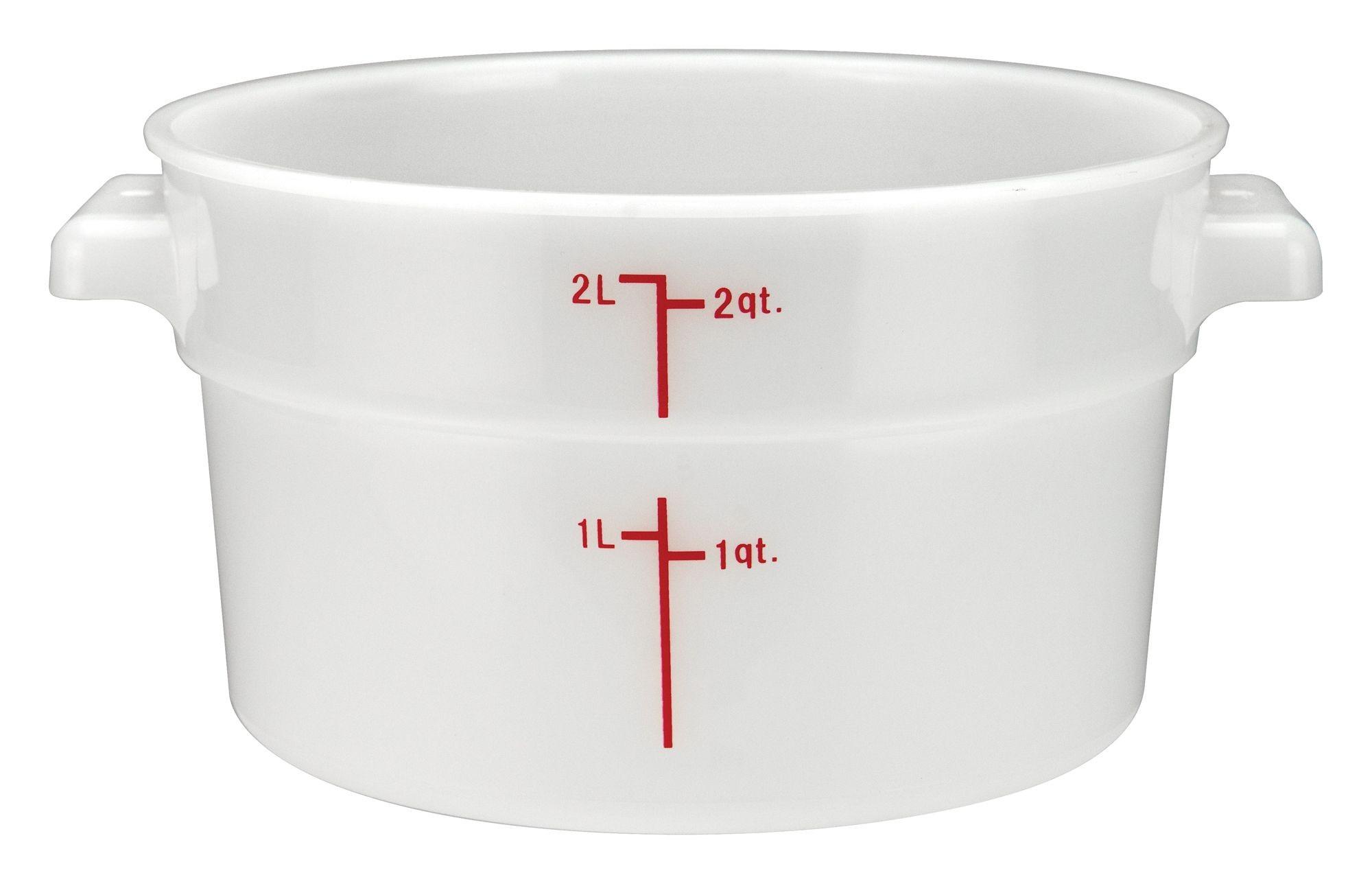 Winco PPRC-2W White Round Storage Container, 2 Qt.