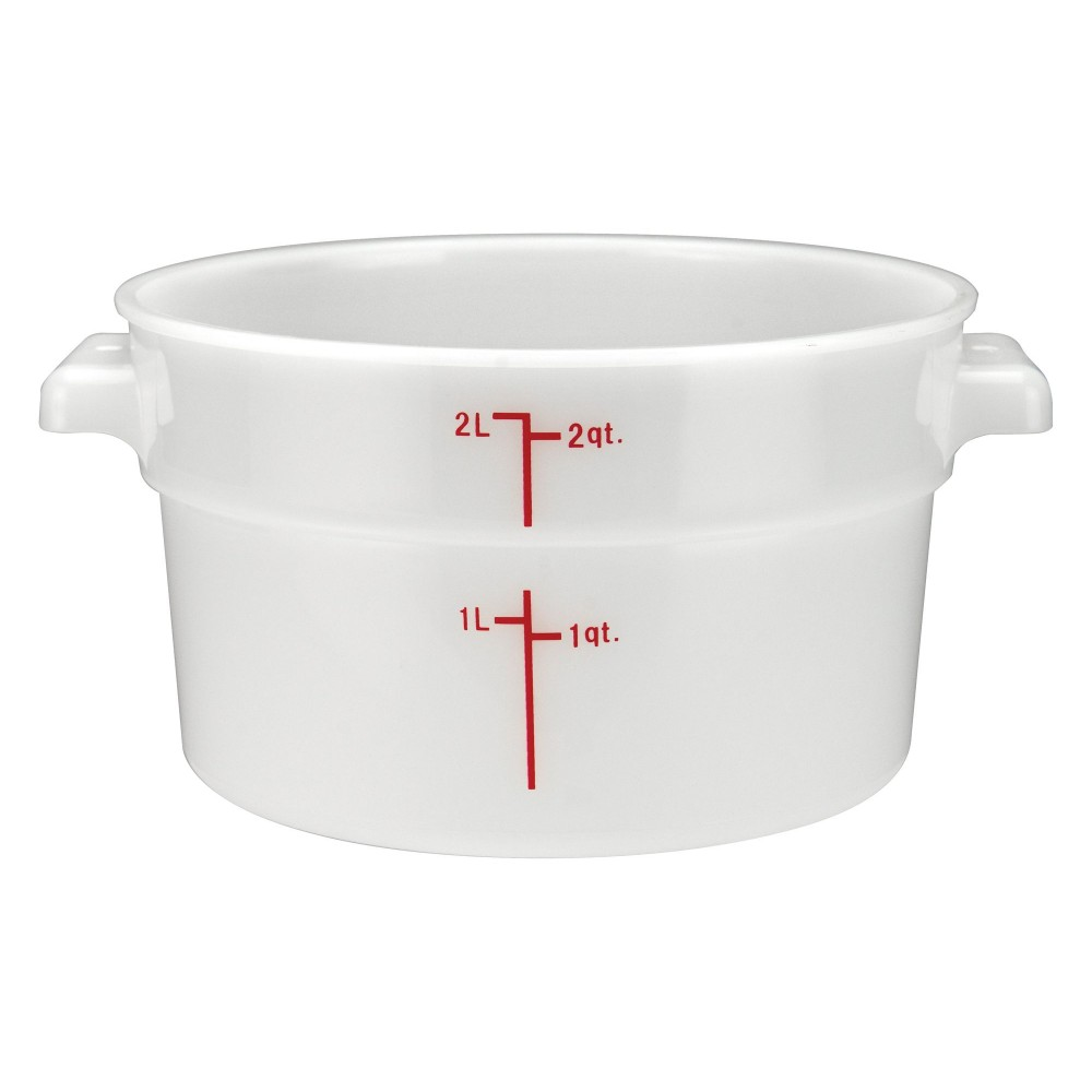 PP Round Storage Container, 2Qt, White