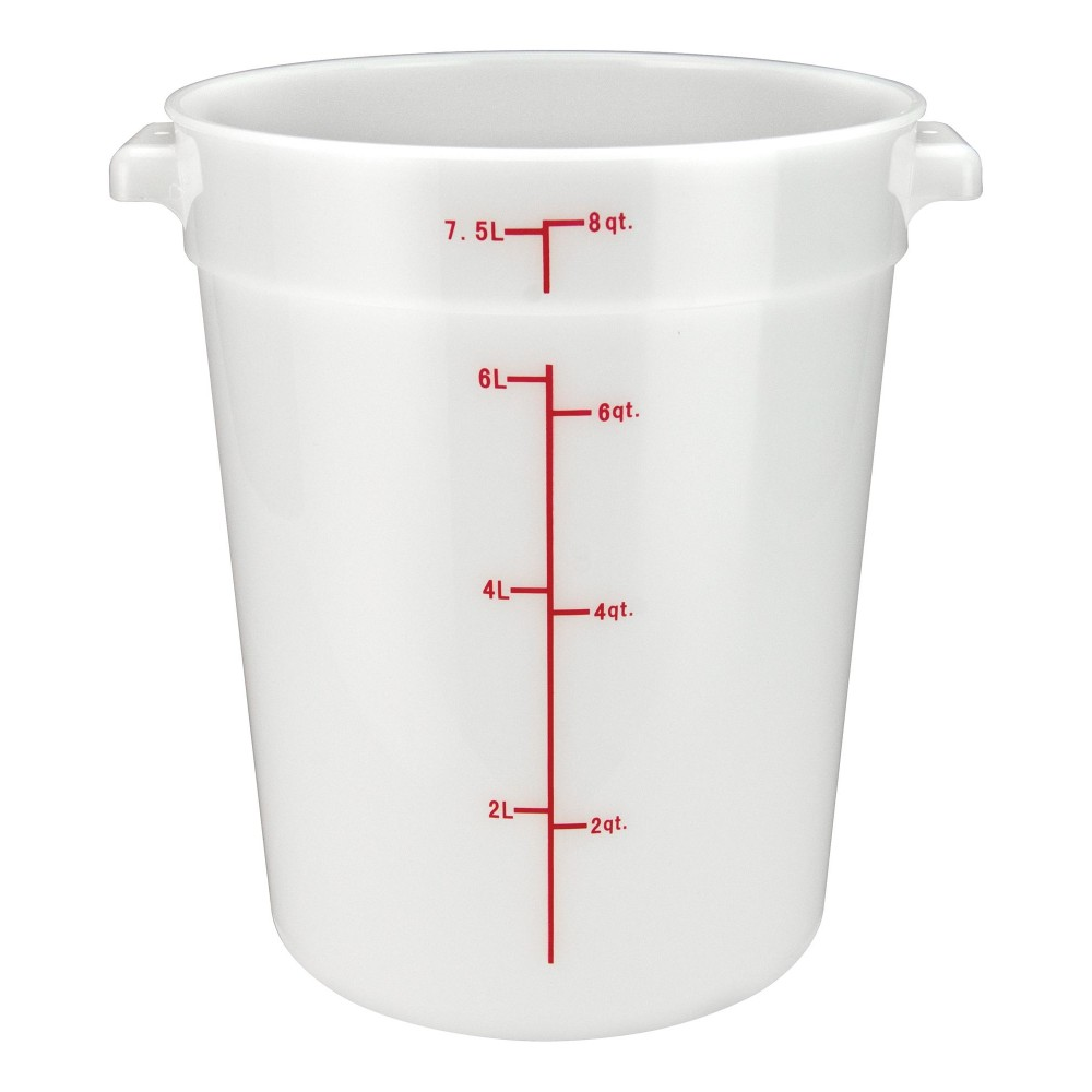 Winco PPRC-8W White Round Storage Container, 8 Qt.