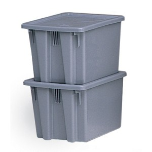 Palletote Box, 9.72gal, Gray