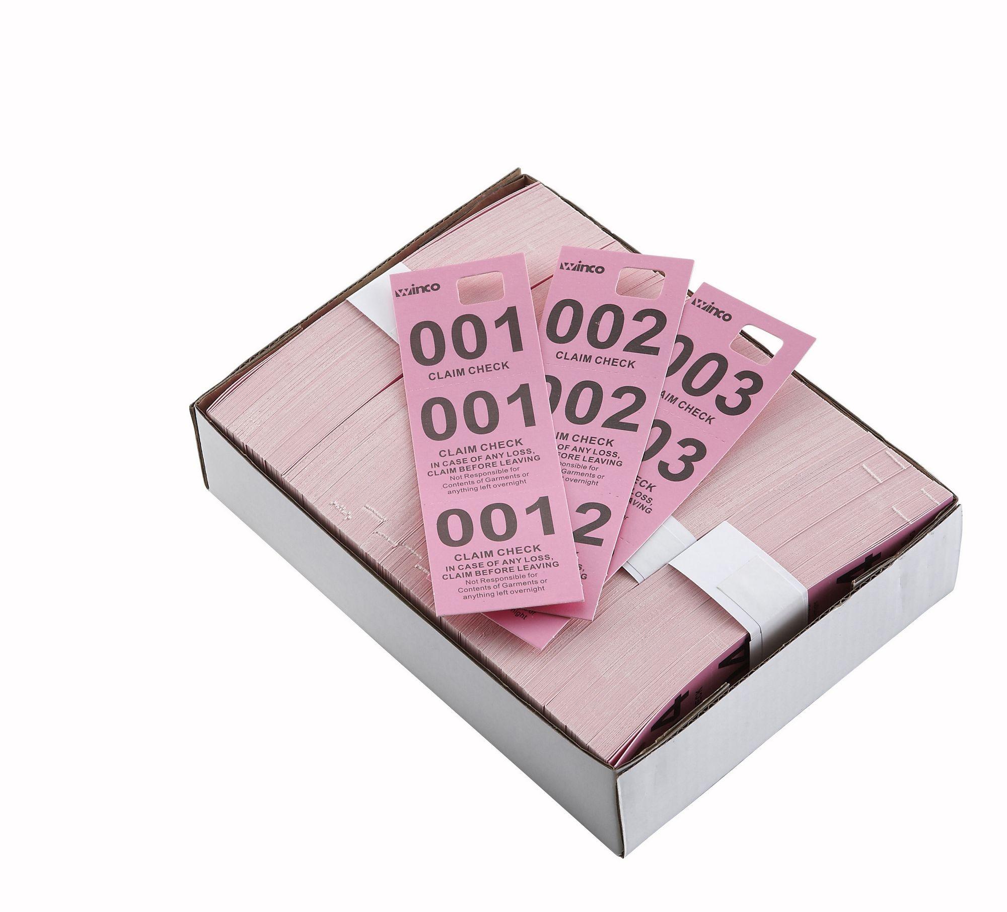 Winco CCK-5PK Pink Coat Check Tags (500 Pieces per Box)