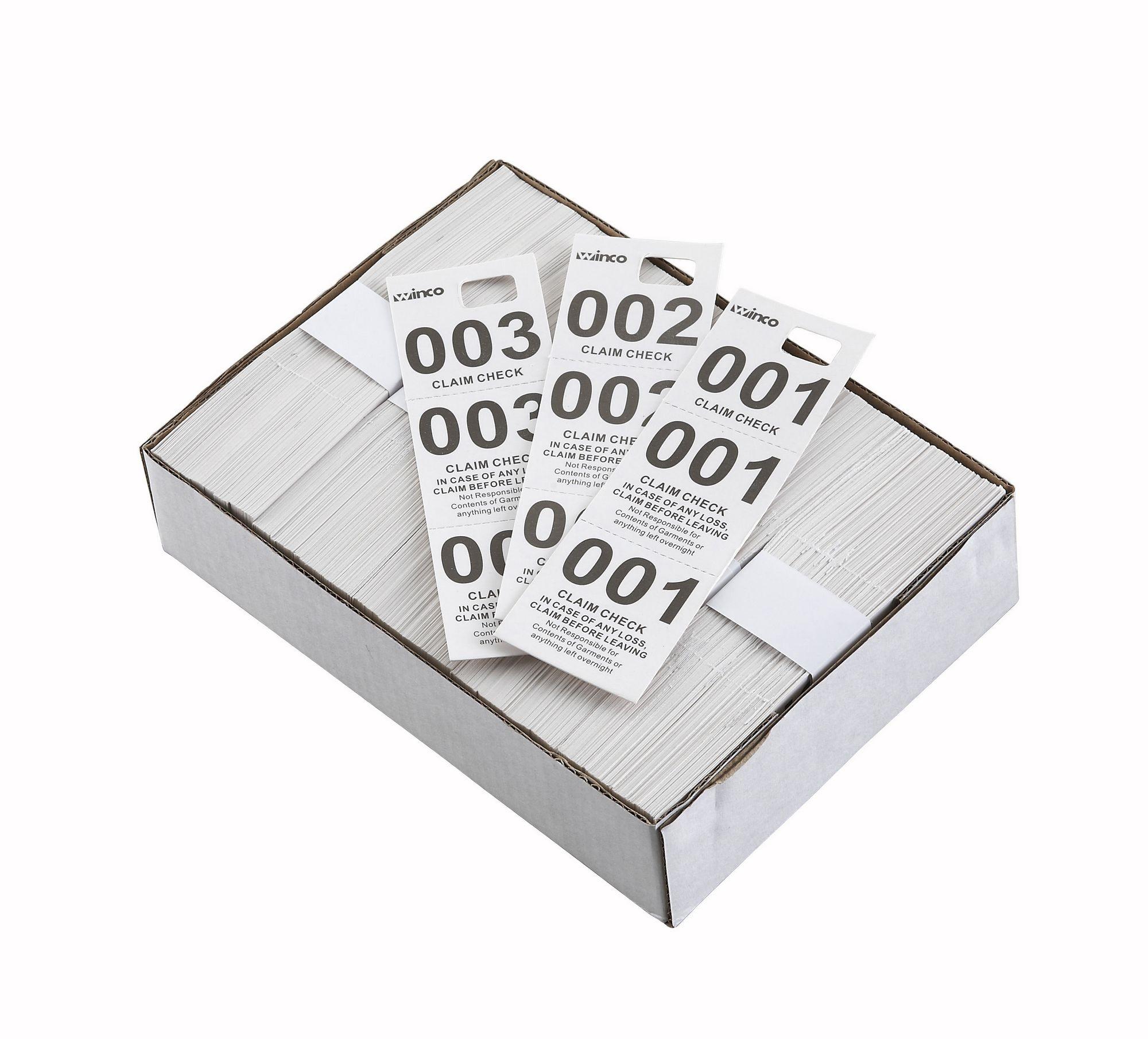 Winco CCK-5WT White Coat Check Tags (500 Pieces per Box)