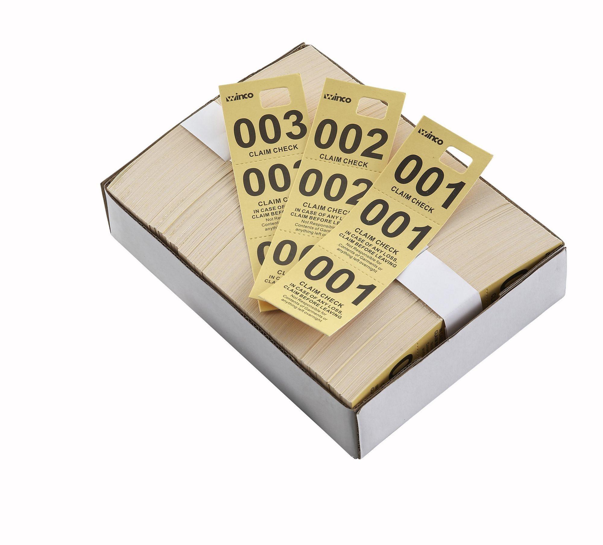 Winco CCK-5YL Yellow Coat Check Tags (500 Pieces per Box) - LionsDeal