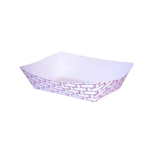 Paper Food Tray with Red Weave 1 lb.