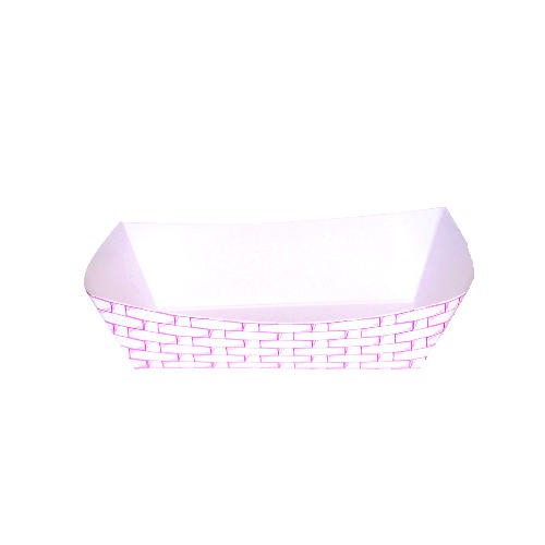 Paper Food Tray with Red Weave 2 lb.