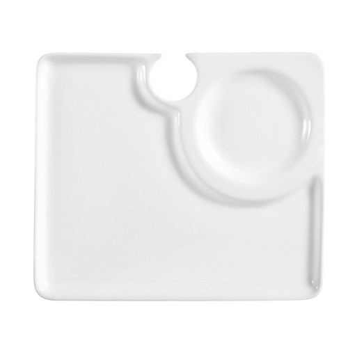 """CAC China COL-P2 Square Party Plate with Stemware Hole 9"""""""