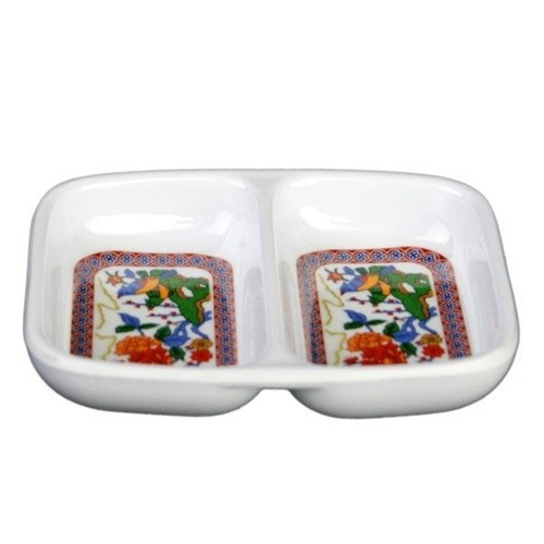 "Thunder Group 1102TP Peacock Twin Melamine Sauce Dish 2-3/4"" x 3-3/8"""