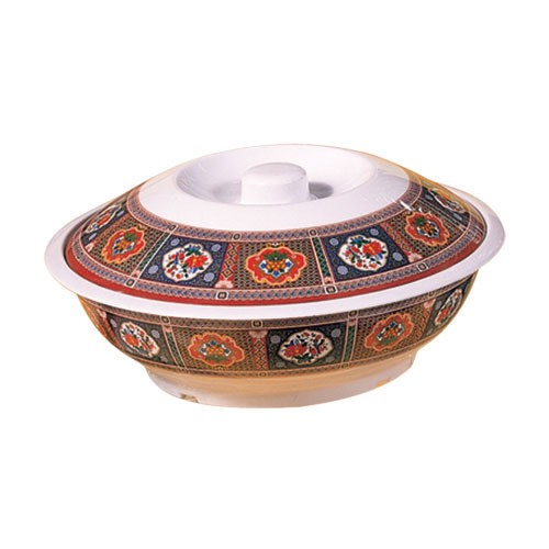 Thunder Group 8010TP Peacock Melamine Serving Bowl with Lid 75 oz.