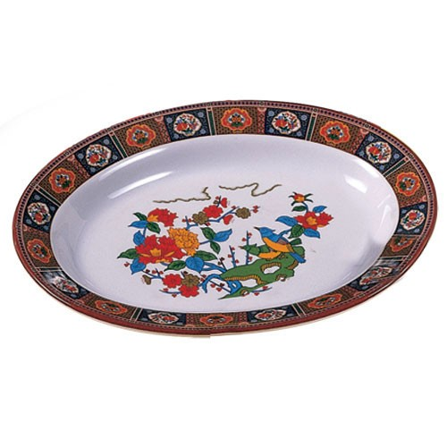 "Thunder Group 2112TP Peacock Oval Melamine Deep Platter, 12"" x 9"""