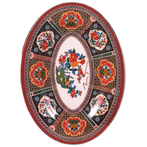 "Thunder Group 2016TP Peacock Oval Melamine Platter, 16"" x 11-5/8"""