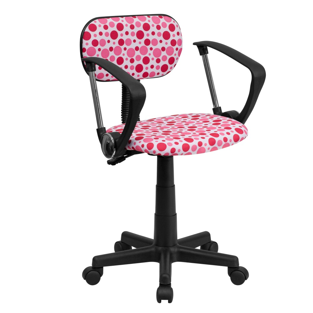 Pink Dot Printed Computer Chair with Arms