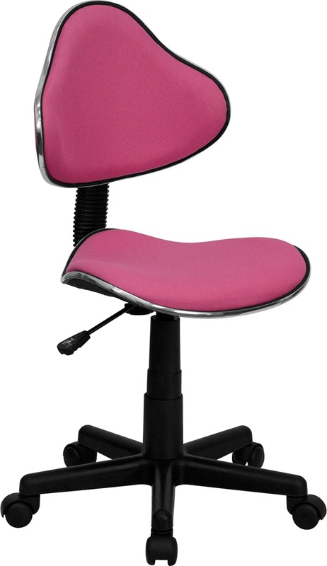 Pink Task Chair, with black stem and wheels
