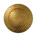 """Jay Import 1180254 Plaid Gold 13"""" Charger Plate"""