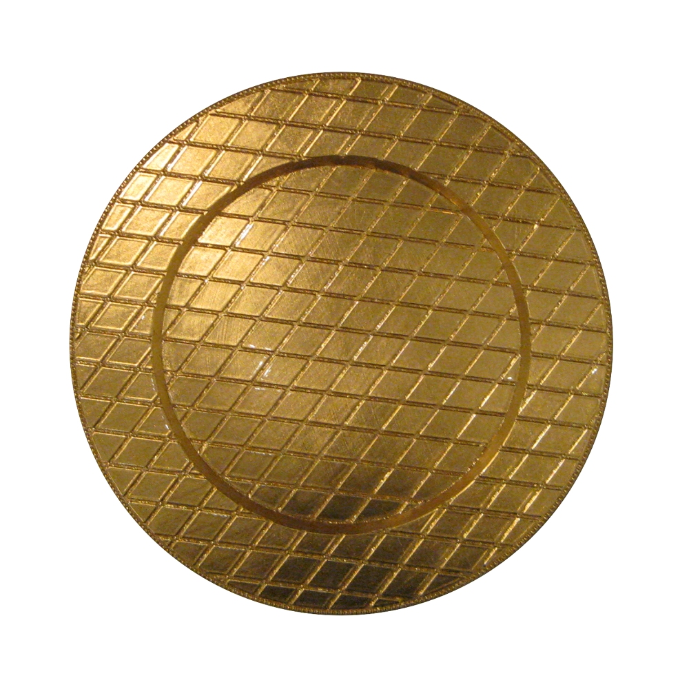 "Jay Import 1180254 Plaid Gold 13"" Charger Plate"