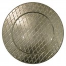 "Jay Import 1180255 Plaid Silver 13"" Charger Plate"