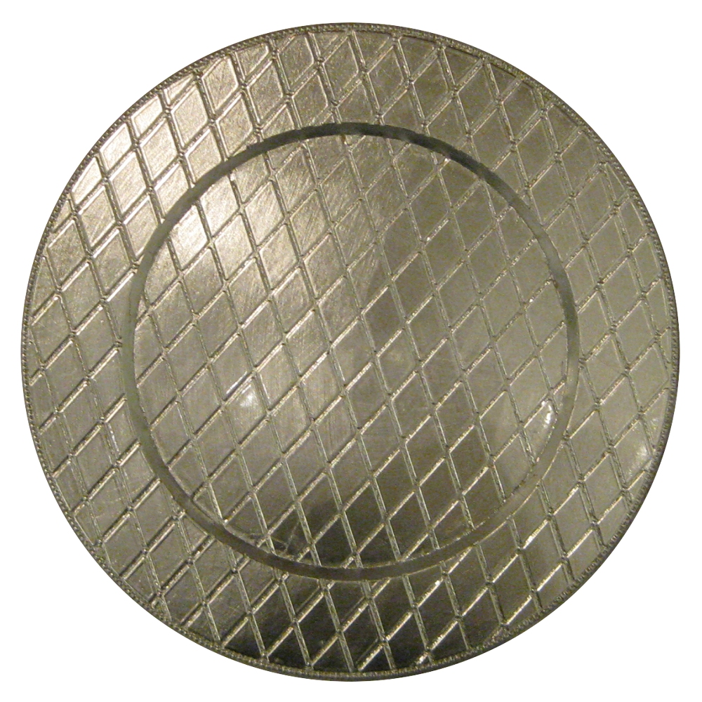 "Jay Companies 1180255 Silver Plaid Melamine Round 13"" Charger Plate"
