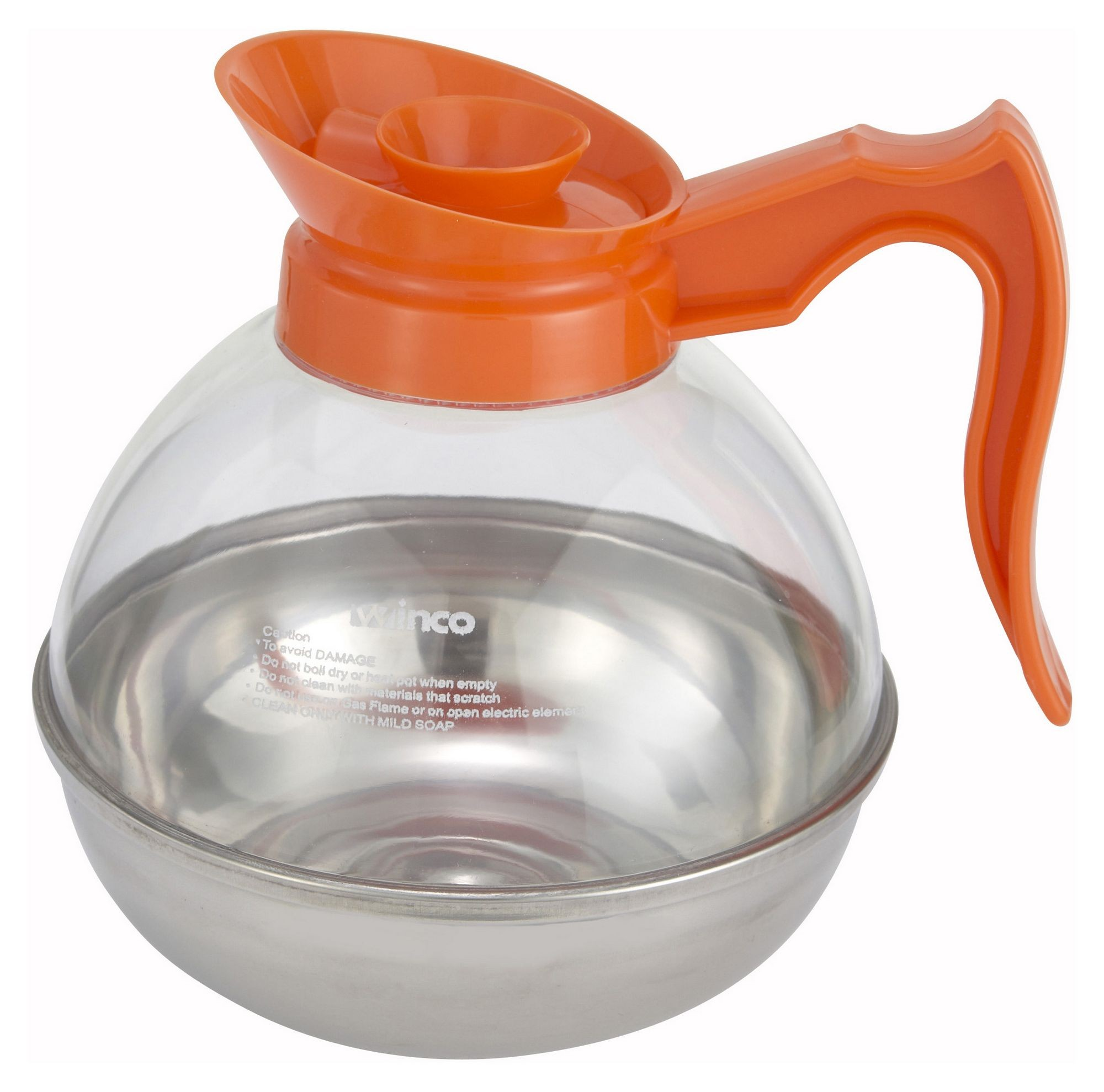 Winco CD-64O Plastic 64 oz. Decaf Coffee Decanter with Stainless Steel Base