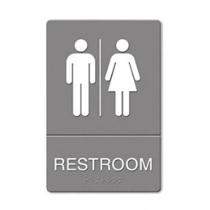 Plastic ADA Sign, Restroom Symbol Tactile Graphic, Men/Women, 6 x 9, Gray/White