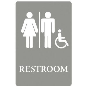 Plastic ADA Sign, Restroom/Wheelchair Accessible Tactile Symbol, 6x9, Gray/White