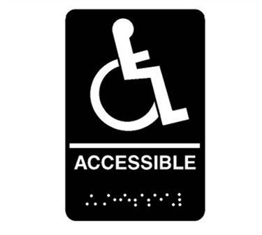 "Franklin Machine Products  280-1195 Plastic Accessible Sign with Braille 6"" x 9"""