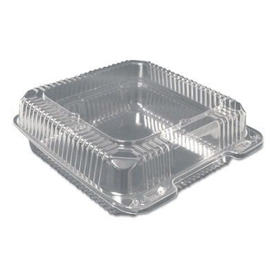 Plastic Clear Hinged Containers, 9 x 9, Clear, 200/Carton