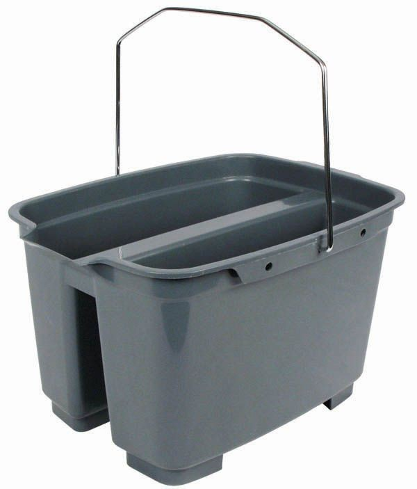 Winco PPL-20D Gray Plastic Double Pail 20 Qt.