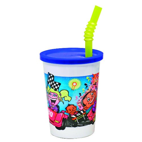 Plastic Kids' Cups with Lids and Straws, 12 oz., Race Car Design (Box of 250)