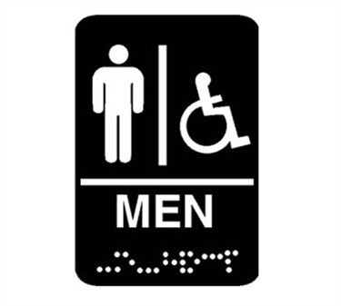 "Franklin Machine Products  280-1198 Plastic Men's Restroom Sign with Braille 6"" x 9"""