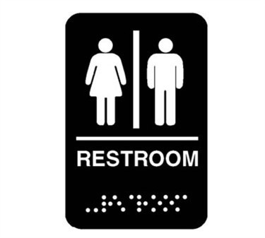 Plastic Men's/Women's Restroom Sign With Braille - 6