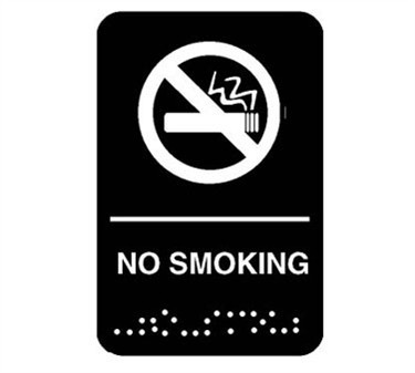 "Franklin Machine Products  280-1208 Plastic No Smoking Sign with Braille 6"" x 9"""
