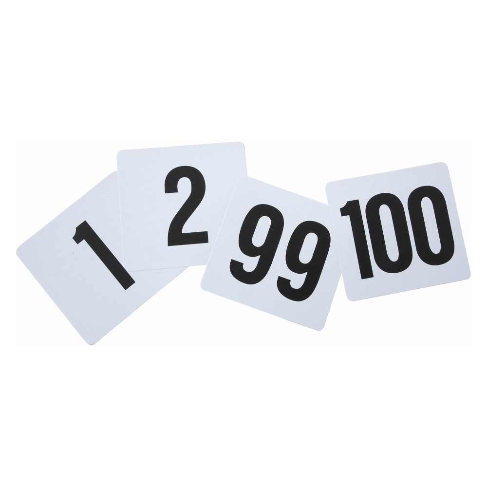 "Winco TBN-100 Plastic Table Numbers 1-100, 4"" x 3-3/4"""