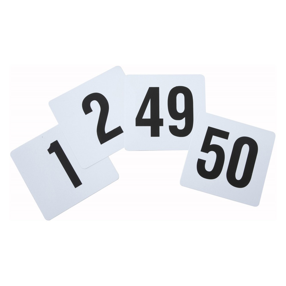 "Winco TBN-50 Plastic Table Numbers 1-50, 4"" x 3-3/4"""