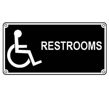 "Franklin Machine Products  280-1196 Plastic Wheel Chair Accessible Restroom Sign 7"" x 14"""