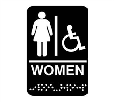 "Franklin Machine Products  280-1199 Plastic Women's Restroom Sign with Braille 6"" x 9"""
