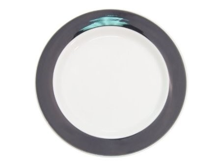 CAC China R-21-BLACK Rainbow Rolled Edge Black Plate 12""