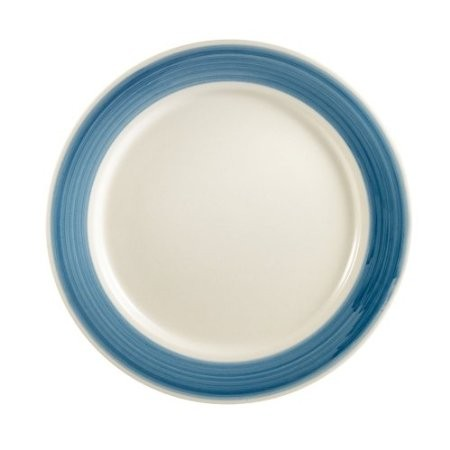 CAC China R-6-BLUE Rainbow Rolled Edge Blue Plate 6 1/2""