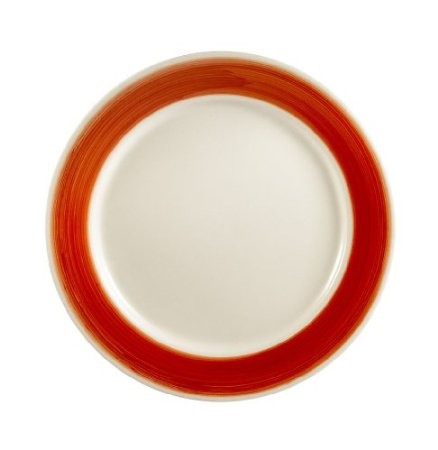 CAC China R-16-RED Rainbow Rolled Edge Red Plate 10-1/2""