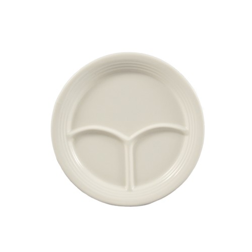 CAC China CMP-9 Stoneware Round 3-Compartment Plate 9 1/2""