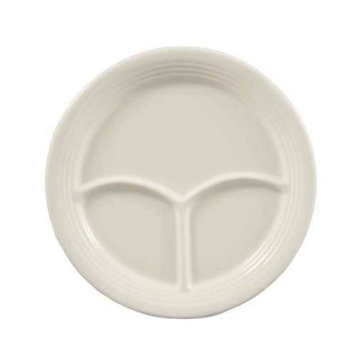 CAC China CMP-21 Stoneware Round 3-Compartment Plate 12""