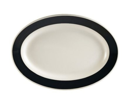 "CAC China R-34-BLACK Rainbow Rolled Edge Black Oval Platter, 9 3/8"" x 6-1/4"""