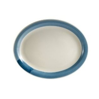 "CAC China R-13NR-BLUE Rainbow Narrow Rim Blue Oval Platter,11 1/2"" x 9"""
