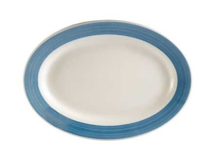 "CAC China R-14 -BLUE Rainbow Rolled Edge Blue Platter, 12 1/2"" x 8-1/8"""