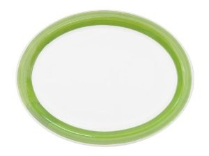 "CAC China R-13NR-G Rainbow Narrow Rim Green Oval Platter, 11 1/2"" x 9"""