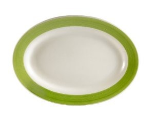 "CAC China R-14-G Rainbow Green Rolled Edge Platter, 12 1/2"" x 8-1/8"""